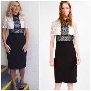 🆕 Zara Black Tube Dress With Contrast Lace Top